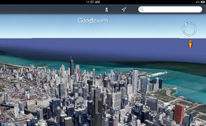 Google Earth - Chicago skyline in 3D in the new interface