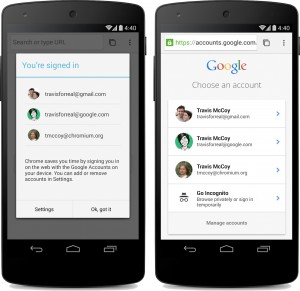 Simplified sign-in with Chrome for Android