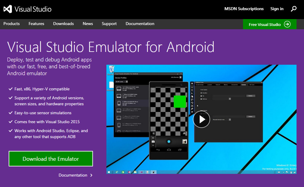 Microsoft Visual Studio Emulator for Android
