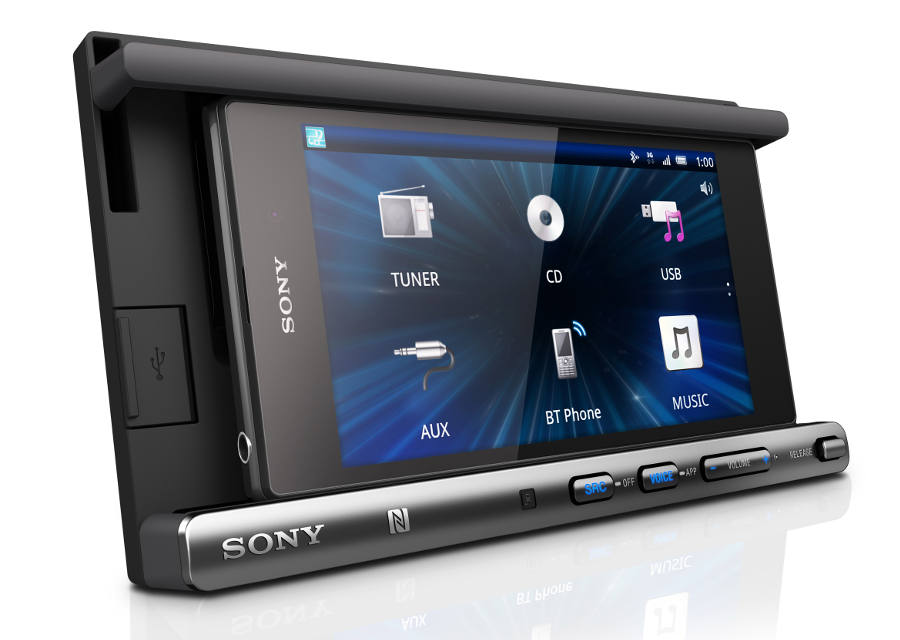 The Sony XSP-N1BT is a double-DIN Smartphone Cradle Receiver