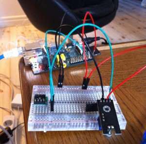 Pan flute - Initial tests with the Arduino sensors attached to the RaspberryPi