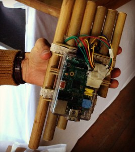 Pan flute - backside of flute revealing the Raspberry Pi