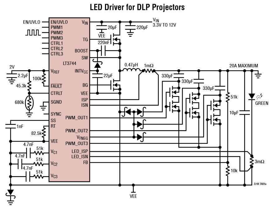 For very fat leds, a 20A (40A peak) driver chip - and it's agile