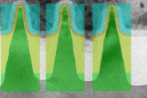TEM images of three Intel FinFETs with the GARAND simulation domain overlaid