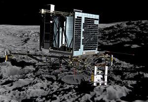 ESA Rosetta - Philae_on_the_comet_back_view