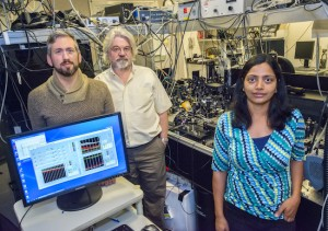 From the left: researchers Brett Helms, Frank Ogletree and Sumanjeet Kaur