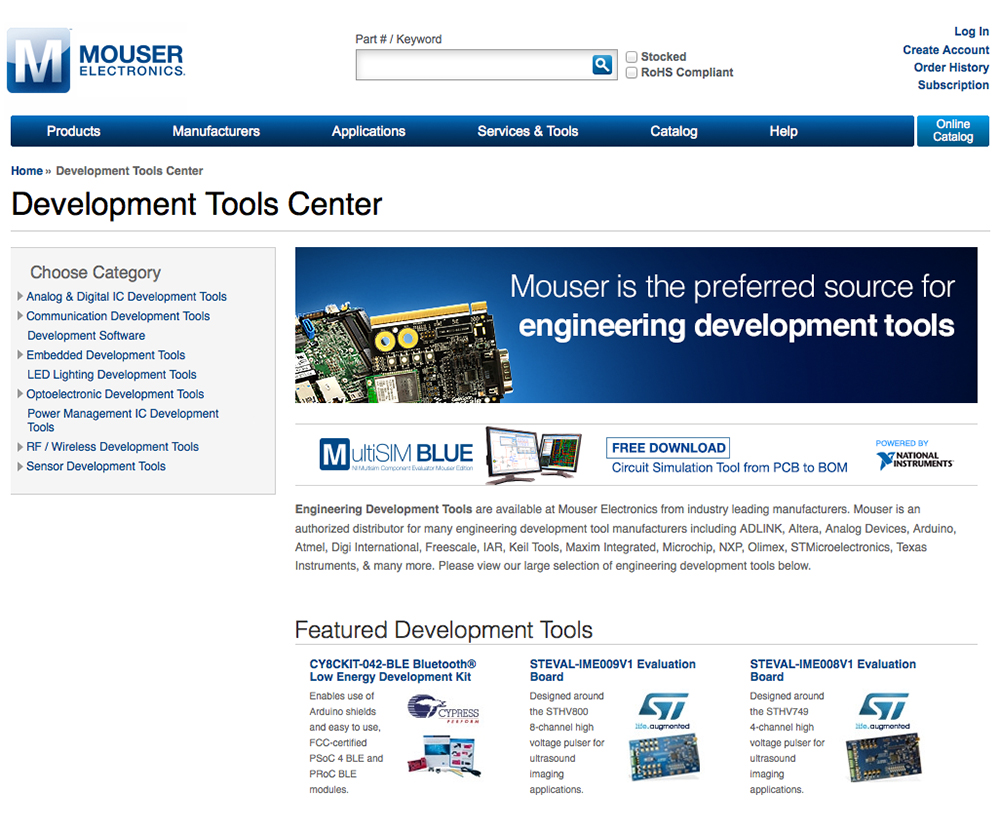 Mouser focuses on online design tool sales