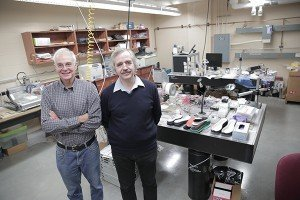 J Ashley Taylor (left) and Tom Krupenkin showing prototypes in their lab