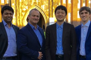L to R: Prof Sriram Subramanian co-founder Ultrahaptics, Steve Cliffe, Prof Hiroyuki Shinoda, University of Tokyo and Tom Carter, co-founder Ultrahaptics.