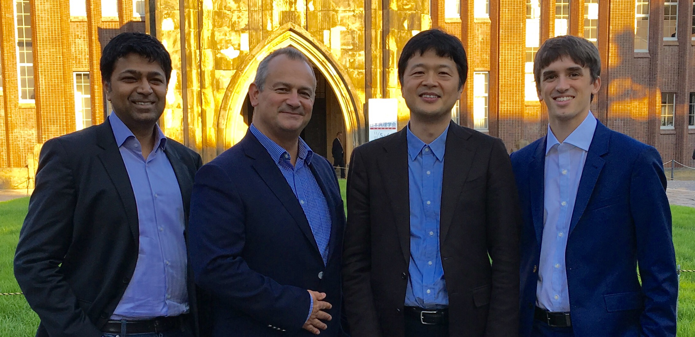 L to R: Prof Sriram Subramanian co-founder Ultrahaptics, Steve Cliffe, Prof Hiroyuki Shinoda, University of Tokyo and Tom Carter, co-founder Ultrahaptics.
