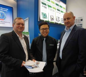 Photo caption (left to right): Adrian Gurr, Global Product Manager Semiconductors, RS; Alex Wong, Worldwide Sales Manager, Digilent; Jon Boxall, Head of Semiconductors, RS.