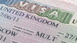 Close up United Kingdom visa in passport