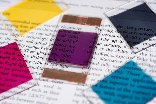 Electro-colour-changing ink is printed with water