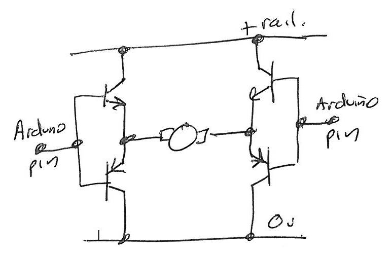 Updated: 'Safe' all-npn reversing motor drive for Arduino