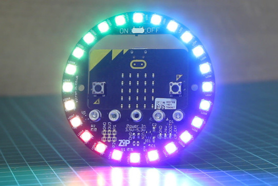 The ZIP Halo addresses full colour LEDs for micro:bit projects