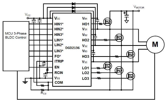 600V three-phase motor driver works from 3.3V logic