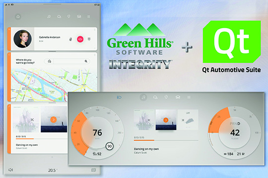 Qt and Green Hills integrate HMI for digital auto cockpits