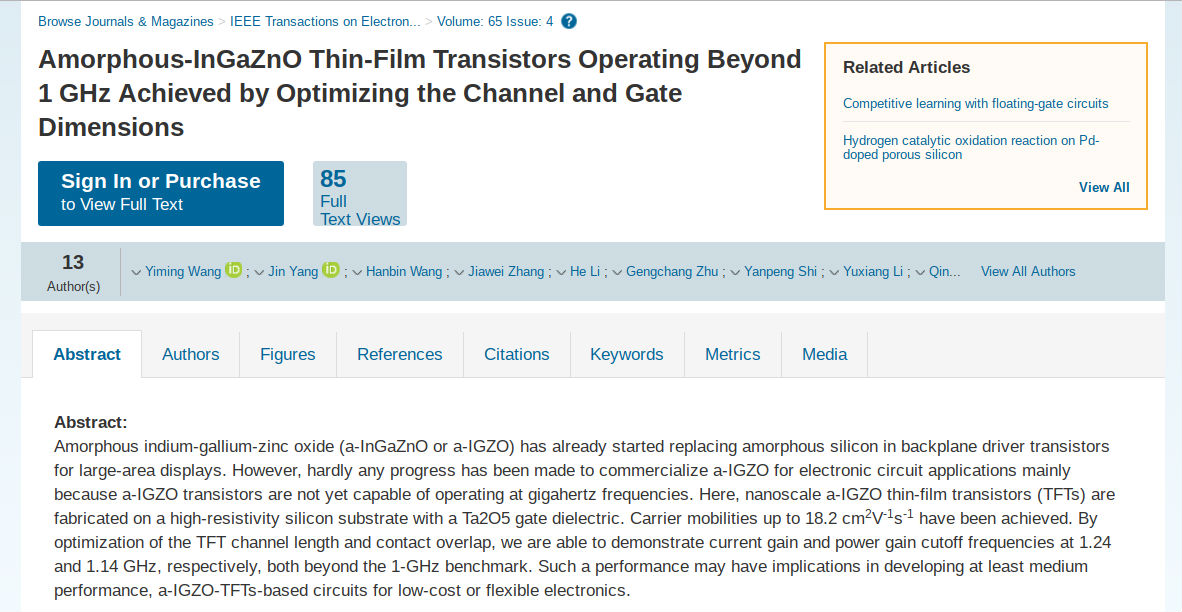 Manchester thin film oxide transistor hits 1ghz publicscrutiny Image collections