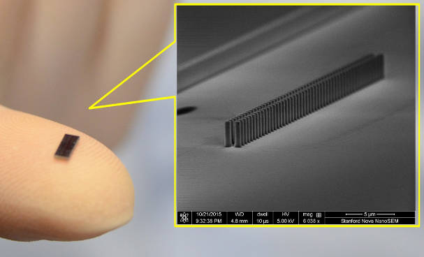 Laser-driven particle accelerator-on-a-chip