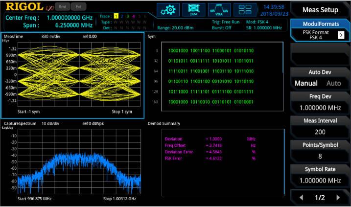 Rigol vector signal analyser app measures modulation