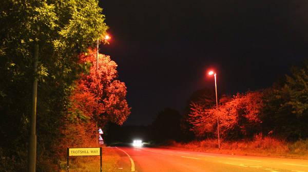 Red Led Streetlights Make Uk Road Bat