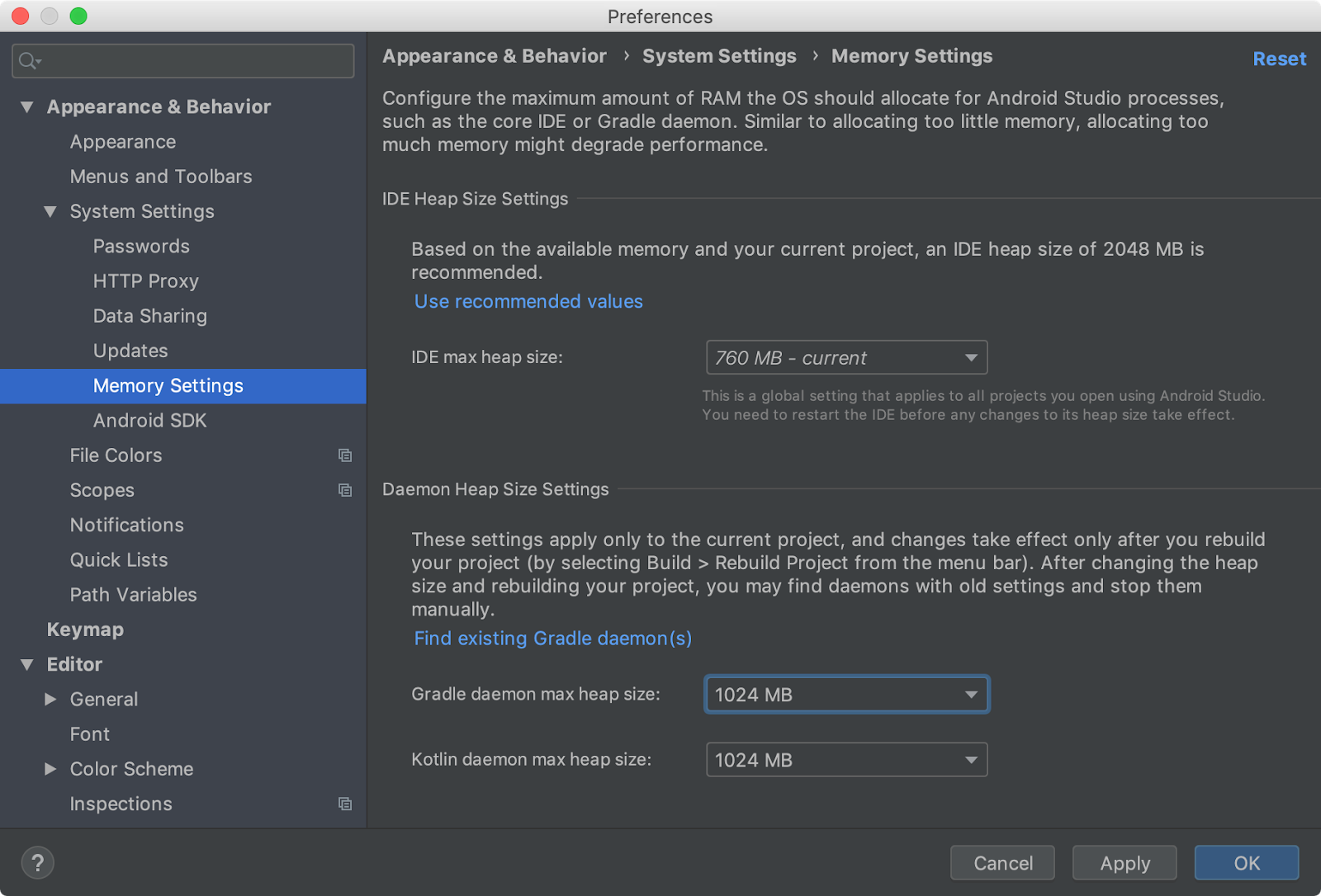 Google addresses memory issues for Android Studio