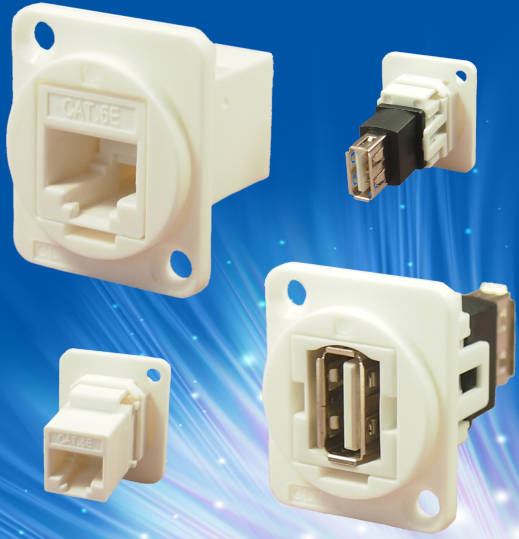 White RJ - 45 and USB connectors for medical equipment fit in XLR holes