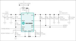 MAX38889 supercap charger