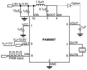 Diodes PAM8907 piezo driver