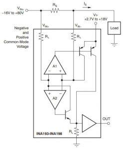 TI INA193 to INA198 current sensor